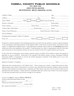 sports physical form west virginia  Fillable Online WVSSAC Sports Physical Form - Cabell County ...