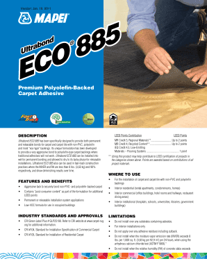 Fillable Online Ultrabond ECO 885 - Mapei Fax Email Print - PDFfiller