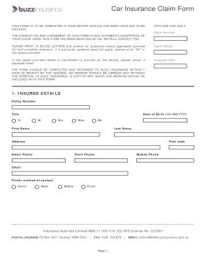 Printable insurance claim letter for damaged car - Edit ...
