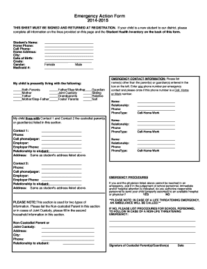 Emergency Action Form
