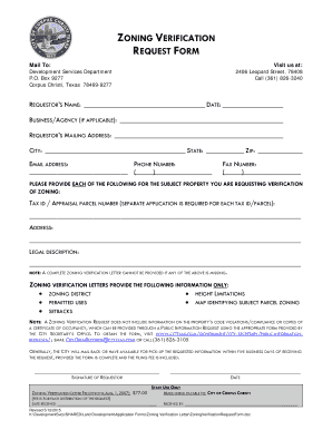 City Of Corpus Christi Zoning Verification Request Form Fill Online