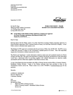 Purchase agreement with Otter Trail Power Company - The bb