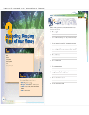 fillable online chapter 3 budgeting keeping track of your money fax