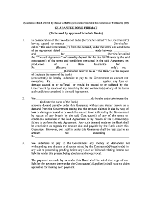 Proforma of Bank Guarantee for Security Deposit - wr indianrailways gov