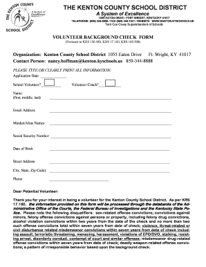 kentonk12 Fillable Online kenton k12 ky Volunteer Form - Kenton County Schools ...