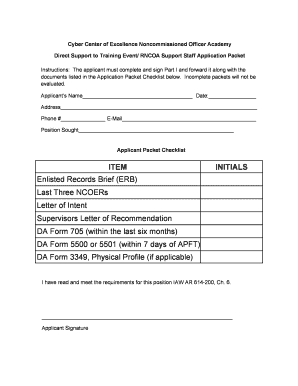 RNCOA Support Staff Application Packet with Digital Signature - signal army