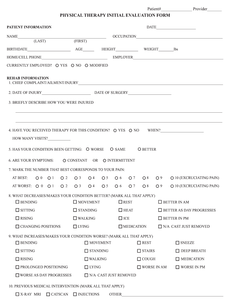 Physical Therapy Evaluation Form Fill Online Printable Fillable Blank Pdffiller