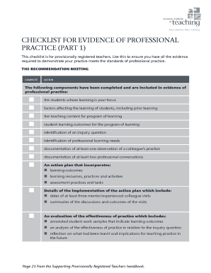 Checklist for evidence of professional practice part 1