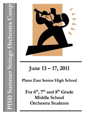 k 12 pisd Fillable Online k-12 pisd PISD Summer Strings Orchestra Camp - Plano ...