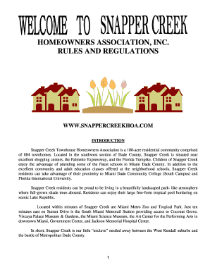 Fillable Online Homeowners association, inc  rules and