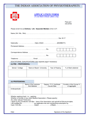 Fillable Online physiotherapyindia org IAP bApplicationb Form