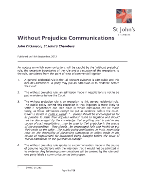 Without Prejudice Settlement Offer Letter Template Communications
