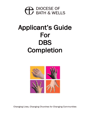 Applicants Guide For DBS Completion - Diocese of Bath and Wells