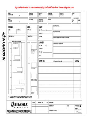 Fillable Online Schedule C Premachined Door Schedule Algoma Hardwoods Fax Email Print Pdffiller