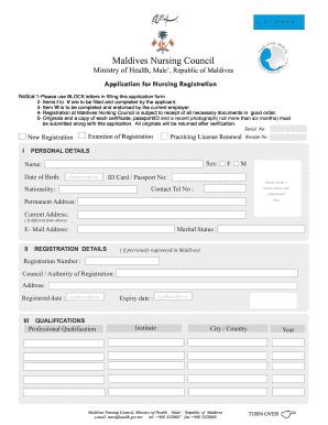 Printable 10 Sample Nursing Registration Forms Form Samples