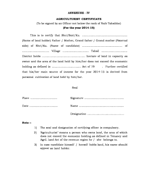 Agriculturist Certificate Form 1 - Fill Online, Printable