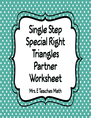 geometry one step special right triangles partner worksheet answers fill online printable. Black Bedroom Furniture Sets. Home Design Ideas