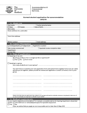 Application Form 2012 13 FINAL   PRINTABLE   Room Types  Free Certificate Of Completion Template
