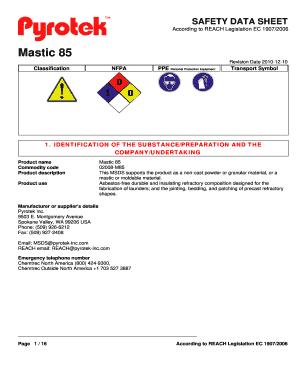 Fillable Online pyrotek Mastic 85 - Pyrotek Inc - pyrotek Fax Email