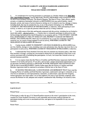 printable texas hold harmless agreement edit fill out