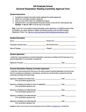 Doctoral dissertation reading committee form