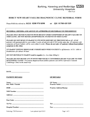 Fillable Online NT ProBNP Heart failure referral form Fax