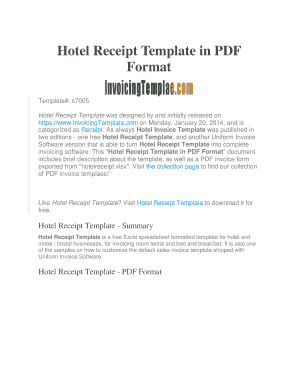 Hotel Receipt Fill Online Printable Fillable Blank PDFfiller