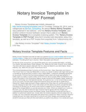 Notary Invoice Template in PDF Format - invoicingtemplatecom