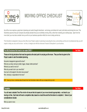 office relocation checklist template