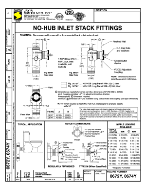 Fillable Online 0672Y 0674Y NO-HUB Inlet Stack Fittings