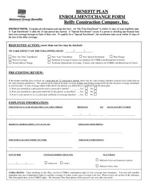 Benefit Plan Enrollment/Change Form