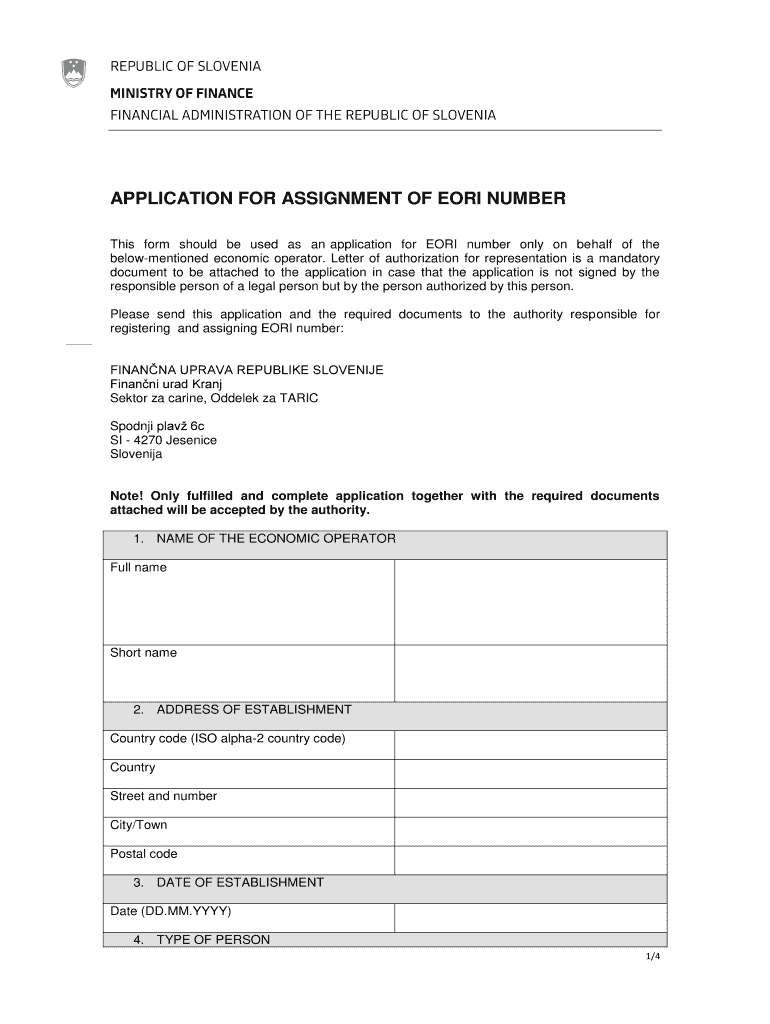 Application for assignment of eori number - Finanna uprava Fill