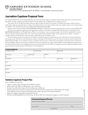Fillable Online Journalism Capstone Proposal Form - Harvard