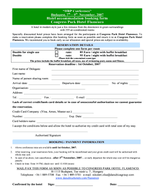 hotel booking form template word - Edit, Fill, Print & Download
