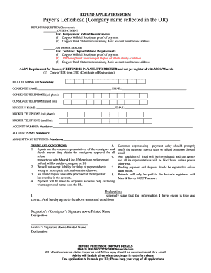 maersk line refund application form