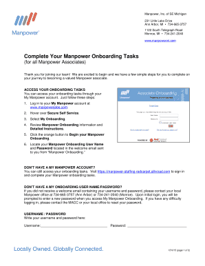 manpower onboarding Fillable Online Complete Your Manpower Onboarding Tasks Fax Email ...