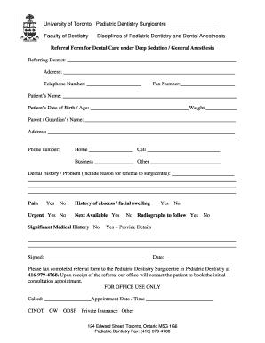editable generic dental referral form templates to. Black Bedroom Furniture Sets. Home Design Ideas