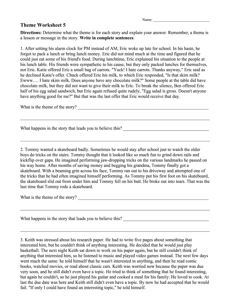Theme Worksheet 5 Answer Key Fill Online Printable Fillable Blank Pdffiller This powerpoint presentation can be used for revising vocabulary related to spring, flowers, animals and weather. theme worksheet 5 answer key fill