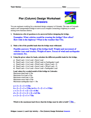 Fillable Online Pier Column Design Worksheet Answers Pdf Teach Engineering Fax Email Print Pdffiller