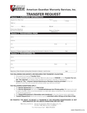 Fillable Online TRANSFER REQUEST - American Guardian Warranty