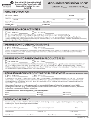 fillable online annual permission form   girl scouts of