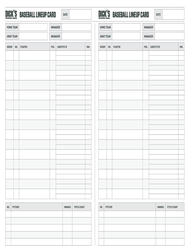 Fillable Online Baseball Lineup Card Baseball Lineup Card Pro Tips