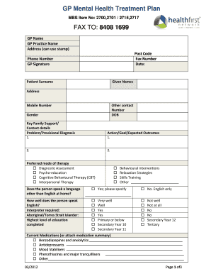 19 Printable mental health treatment plan template Forms ...