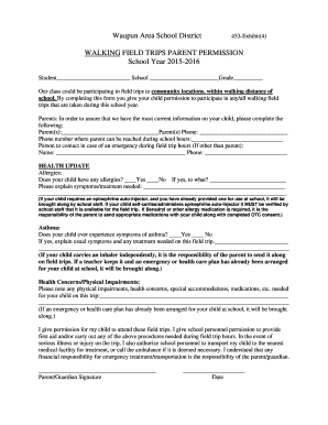 Walking Field Trip Permission Slip - Waupun Area School District