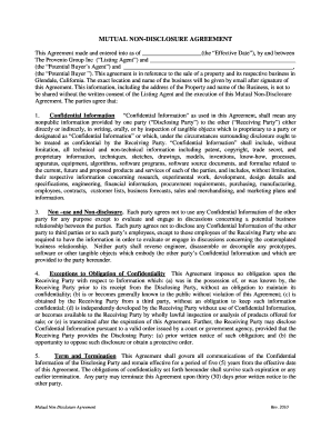 15 Printable Mutual Non Disclosure Agreement Pdf Forms And