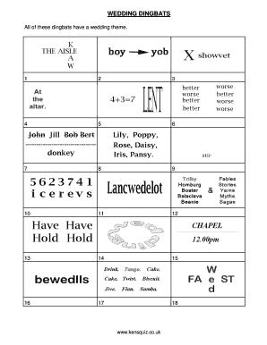 WEDDING DINGBATS Fill Online, Printable, Fillable, Blank