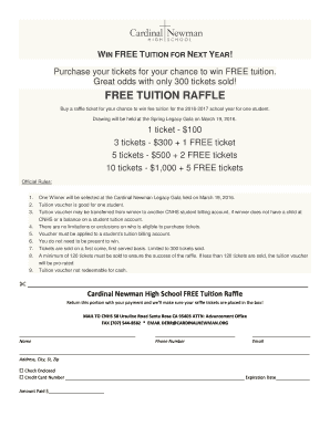 fillable online cardinalnewman free tuition raffle flyer cardinal