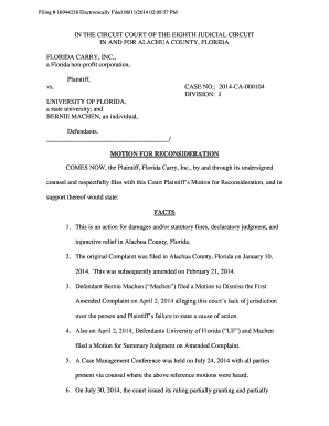Fillable motion for reconsideration sample template edit online plaintiffs motion for reconsideration florida carry expocarfo Images