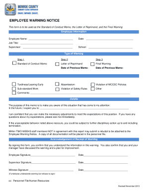 This form is to be used as the Standard of Conduct Memo, the Letter of Reprimand, and the Final Warning - mccsc