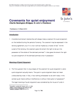 Printable quiet enjoyment letter to landlord - Fill Out